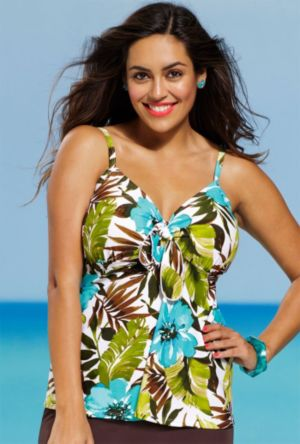 Fiji Floral Tie Front Tankini Top