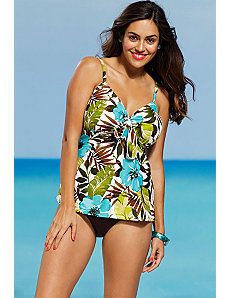 Sea Hibiscus Tie Front Tankini by Shore Club