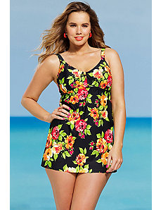 Garden Of Eden Shirred Two Piece Swimdress by Shore Club