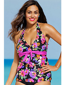 Dahlia Tie Front Tankini Top by Shore Club