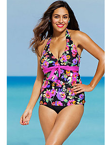 Dahlia Tie Front Tankini by Shore Club