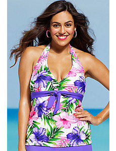 Hibiscus Tie Front Tankini Top by Shore Club