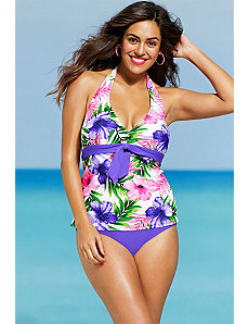 Hibiscus Tie Front Tankini by Shore Club