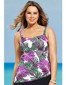 Modern Fern Bandeau Tankini Top by Shore Club