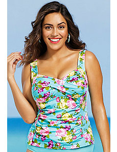 Rosebud Shirred Tankini Top by Shore Club