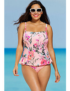 Wild Rose Peplum Tankini by Shore Club