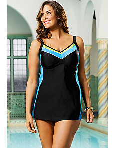 Blue Colorblock Swimdress by Delta Burke