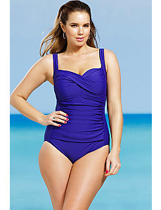 Blueberry Twist Front Swimsuit by Delta Burke