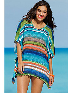 Striped Poncho Tunic by SFA House Brand