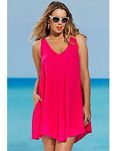 Fuschia V Neck Tunic by SFA House Brand