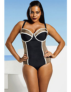 Black And Taupe Cross Back Underwire Swimsuit by Tropiculture