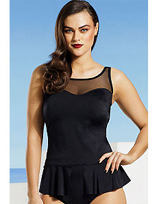 Black Split Front Peplum Tankini Top by Tropiculture