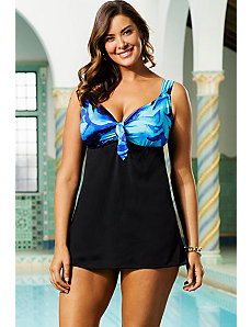 Cool Water Tie Front Swimdress by Longitude