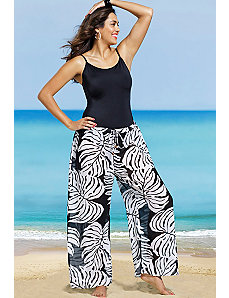 Black White Palm Print Pant by s4a