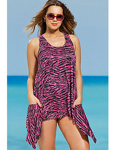 Fuschia Zebra Burnout Tunic by SFA House Brand