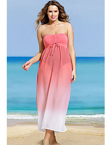 Coral Bandeau Chiffon Dress by s4a