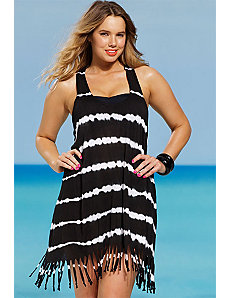 Tie Dye Racer Back Fringe Dress by s4a