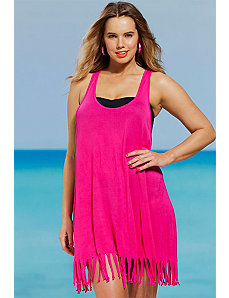 Hot Pink Racer Back Fringe Dress by s4a