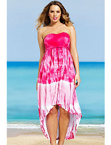Pink Tie Dye Smocked Hi Low dress by s4a