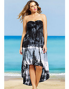 Black Tie Dye Smocked Hi Low dress by s4a