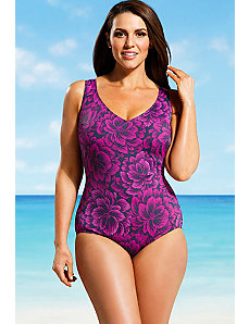 Raspberry Firework V Neck One Piece by Beach Belle