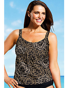Taupe Firework Flared Tankini Top by Beach Belle