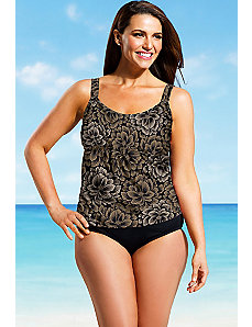Taupe Firework Flared Tankini by Beach Belle