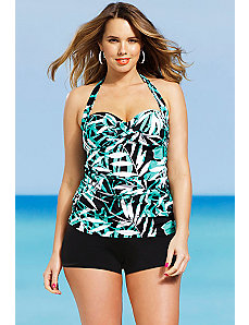 Green Palm Twist Front Bandeau/Halter Boy Shorti by Shore Club