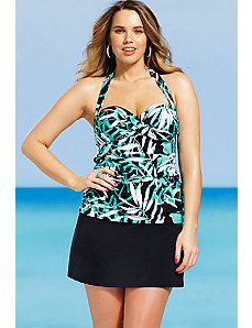 Palm Cove Twist Front Bandeau/Halter Slit Skirtini by Shore Club