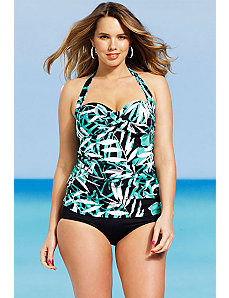 Palm Cove Twist Front Bandeau/Halter Tankini by Shore Club