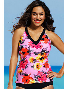 Blossom V Neck Tankini Top by Shore Club
