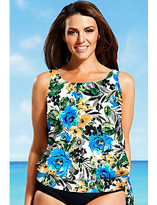 Watercolor Blouson Tankini Top by Beach Belle