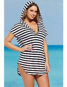Black and White Mesh Stripe Tunic by SFA House Brand
