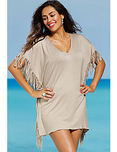 Taupe Fringe V Neck Tunic by s4a