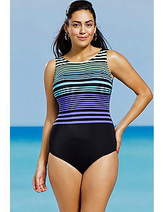 Sporty Stripe High Neck Swimsuit by Delta Burke