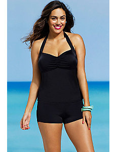 Eclipse Shirred Halter Boy Shortini by Shore Club
