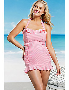 Rose Seersucker Ruffle Swimdress by Jessica Simpson