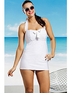 Seashell Tie Front Bandeau Halter Swimdress by Jessica Simpson