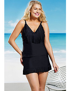 Black Fringe Tankini by Jessica Simpson