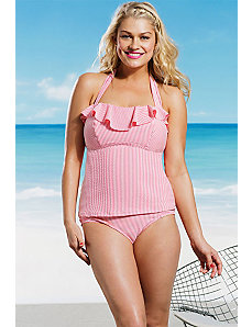 Rose Seersucker Ruffle Tankini by Jessica Simpson