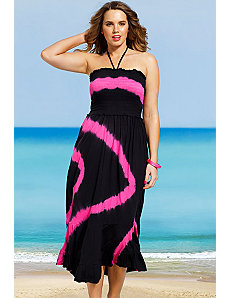 Pink Diagonal Tie Dye Smocked Maxi Dress by s4a