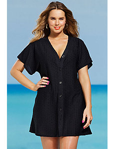 Black Waffle Button Up Tunic by s4a