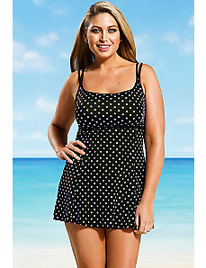 Lavender Dot allover print Lingerie Swimdress by Longitude