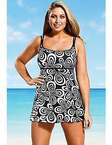 Black and White Carnaby allover Lingerie Swimdress by Longitude