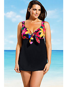Delilah top print Empire Swimdress by Longitude