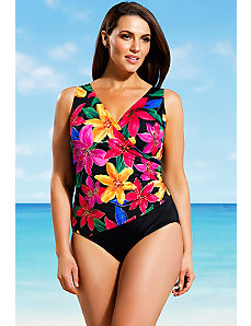 Delilah Side Shirred Surplice Swimsuit by Longitude
