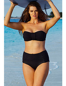 Black Pleated Bandeau Bikini by Robyn Lawley