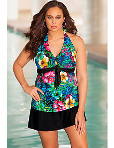 Oahu Tie Front Halter Skirtini by b. belle