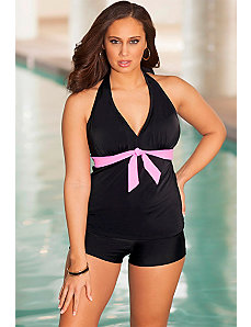 Sassy Tie Front Halter Boy Shortini by b. belle