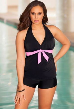 Sassy Tie Front Halter Boy Shortini